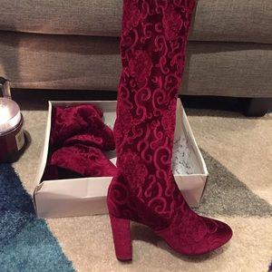 Burgundy knee high velvet boots